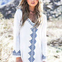 White Embroidered Cotton  Beach Dress