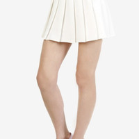 Amira Tennis Pleat Skirt - White