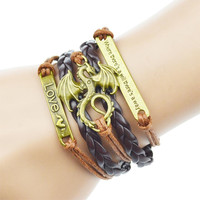 2016 Dragon Multilayer Braided Bracelets Where There's A Will There's A Way Charm Bracelet Woven Leather Bracelet & Bangle