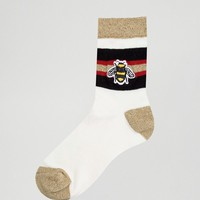 ASOS Bee Embroidered Ankle Socks at asos.com