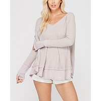 Thumb Hole Long Sleeve Layered V-Neck Waffle Knit Thermal Sweater Top in Lavender