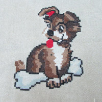 "Small Handmade Tapestry ""Dog"",  Very Beautiful Puppy, Great Decor for Your Child's Room"