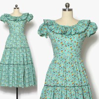 Vintage 40s Novelty Print DRESS / 1940s Farmyard Farm Print Cotton Day Dress with Matching Slip