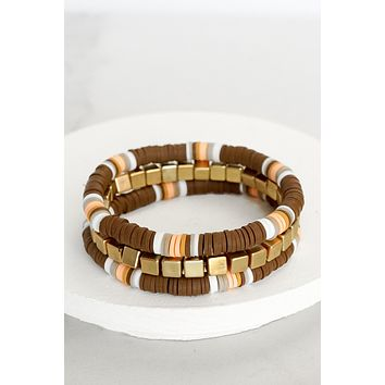 Fall Heishi Bracelet Set in Brown and Gold