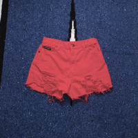 Vintage 1990s RED DENIM Destroyed SHREDDED Denim High Waisted Cut short Shorts X-small Small