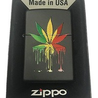 Zippo Custom Lighter - Drippy Rasta Marijuana Weed Pot Leaf Design