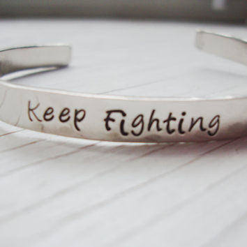Keep fighting hand stamped nickel silver bracelet cuff with boxing gloves stamp