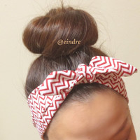 Red and White Chevron Dolly Bow Headband, Wire Option Available