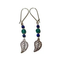 Turquoise and Navy Silver Leaf Dangle Earrings