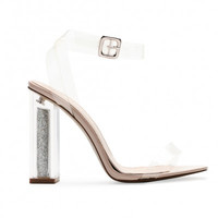 Strappy Lucite Glitter Heels Nude