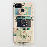 Three is the magic number, Mint Retro Cameras iPhone & iPod Case by AC Photography