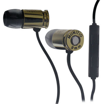 Munitio Nines Tactical Earbuds With 3-Button Microphone (Gold)