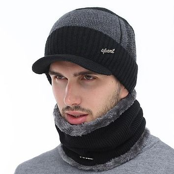 AETRUE Men's Sports Fashion Winter Knitted Wool Hat and/or Infinity Scarf