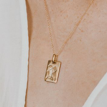 Old English Initial Pendant Necklace