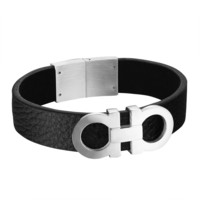 AA Luxury Made Bracelet Design Stainless Steel Mens Black Leather Band Unique