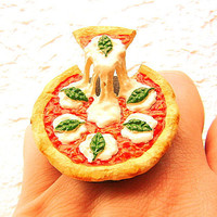 Kawaii Food Ring Pizza Basil Cheese Tomato by SouZouCreations