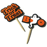 10 Halloween Cupcake Toppers - Boo and Trick or Treat