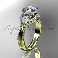 Unique 14kt yellow gold diamond wedding ring, engagement ring  ADLR319