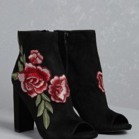 Embroidered Floral Ankle Boots