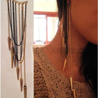 Long Chain Pointed Cuff Earrings