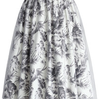 Tropical Sketch Mesh Midi Skirt Multi S/M