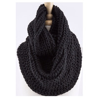 """""""Love the Classic"""" Crochet Thick Black Infinity Scarf"""