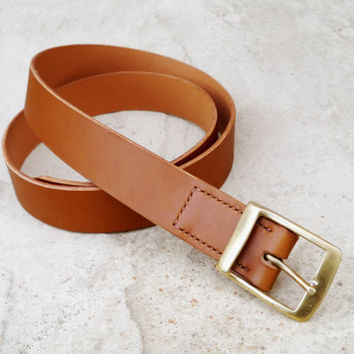 Mens Brown Leather Belt - Handmade in England - In a Beautiful Tan Colour