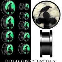 Black Raven on Cross Glow in the Dark Screw Fit Plug in Black Anodized Titanium | Body Candy Body Jewelry
