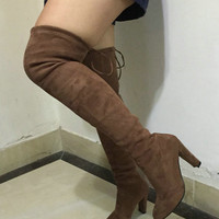 Boots Stretch Faux Suede Slim Thigh High Boots- Over the Knee Boots Taupe/Nude
