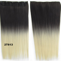 """Dip dye hairpieces New Fashion 24"""" Women Clip in on gradient wig Bath & Beauty Hair Ombre Hair Extensions Two Tone Straight hair Gradient Hair Extension Colorful Hairpieces GS-666 2T613,1PCS"""