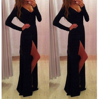 V-NECK LONG SLEEVE DRESS