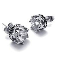 Transparent Titanium Steel CZ Crown Shape Stud — accessoryinlove