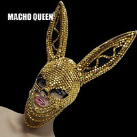 Gold Rivets and Chains Bunny Ears Face Mask