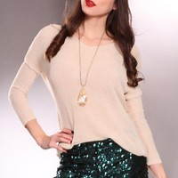 Teal Sequins Open Knit Shorts