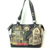 Large leather bag, leather handbag, with applique, bag with houses, painted houses, shoulder bag.