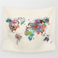 world map watercolor Wall Tapestry by Bri.buckley