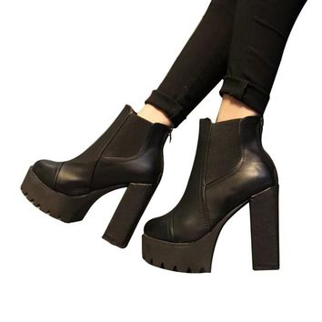 Ankle Boots High Heels Block Thick Women Shoes Autumn Winter Women's High Waterproof Platform Leather Boots Genuine High Quality