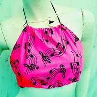 Funky beats neon pink music notes Halter top one size fits most  lycra uv reactive