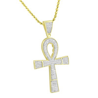 Mens Ankh Cross Pendant Chain 14K Gold Tone 925 Silver