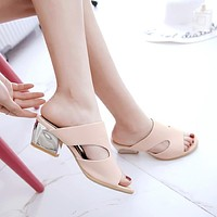 Candy Colors Open Toe Square Silver Heel Slides Chunky Sandals 9232