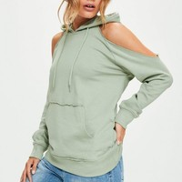Missguided - Green Cold Shoulder Hoodie