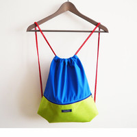 Summer gym bag backpack beach bag festival bag water resistant waterproof color block neon hipster colorful happy minimalist backpack