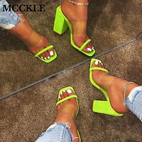 MCCKLE Women Transparent Sandals Ladies High Heel Slippers Candy Color Open Toes Thick Heel Fashion Female Slides Summer Shoes