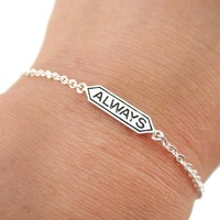 """Harry Potter Themed """"Always"""" Snape and Lily Remembrance Charm Bracelet in Silver"""
