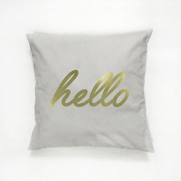 Hello Pillow, Typography Pillow, Gold Pillow, Home Decor, Cushion Cover, Throw Pillow, Bedroom Decor, Bed Pillow, Decorative Pillow,