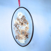 Vintage Dried Flower Wall Hanging Window Hanging Oval 6 1/4  X 4 Inches