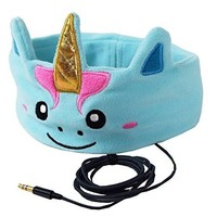 Mystic Unicorn Kids Headphones Volume Limited with Ultra-Thin Speakers & Super Comfortable Soft Fleece Headband - Perfect Children's Earphones for Home and Travel