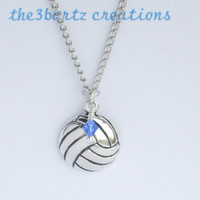 Silver Volleyball Necklace - Option to Personalize with a Birthstone Bead, Favorite Color, or Team Colors