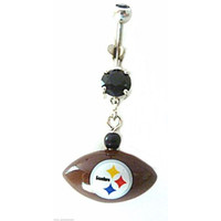 Belly Ring NFL Football Pittsburgh Steelers Football Sports Dangle Naval Steel Body Jewelry