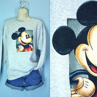 Mickey Mouse Sweatshirt / Disney Gray Sweatshirt